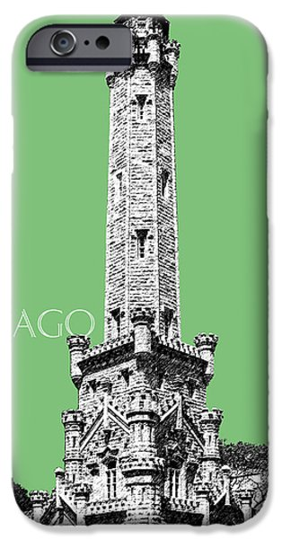 Green Posters Digital iPhone Cases - Chicago Water Tower - Apple iPhone Case by DB Artist