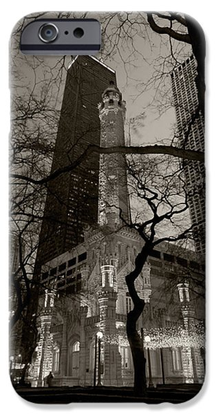 Sears Tower iPhone Cases - Chicago Water Tower B W iPhone Case by Steve Gadomski