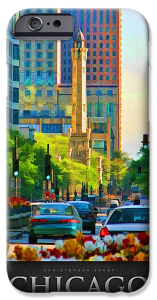 Chicago Paintings iPhone Cases - Chicago Water Tower Beacon Poster iPhone Case by Christopher Arndt