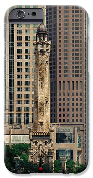 Old Chicago Water Tower iPhone Cases - Chicago Water Tower iPhone Case by Peg Urban