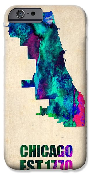 Sears Tower iPhone Cases - Chicago Watercolor Map iPhone Case by Naxart Studio
