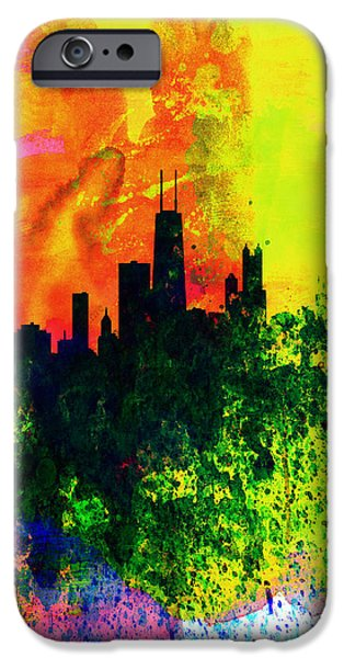 Sears Tower Digital iPhone Cases - Chicago Watercolor Skyline iPhone Case by Naxart Studio
