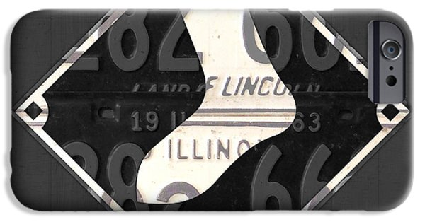 Chicago iPhone Cases - Chicago White Sox Baseball Vintage Logo License Plate Art iPhone Case by Design Turnpike
