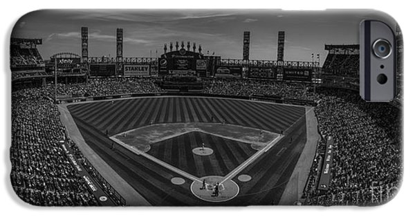 Chicago Cubs iPhone Cases - Chicago White Sox Pano 1 BW iPhone Case by David Haskett
