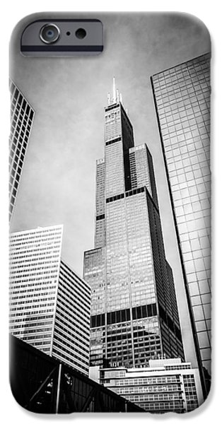 Sears Tower iPhone Cases - Chicago Willis-Sears Tower in Black and White iPhone Case by Paul Velgos