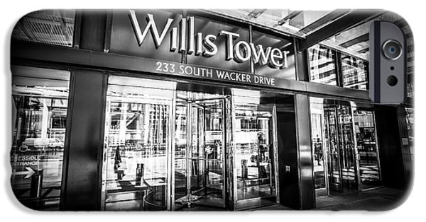 Sears Tower iPhone Cases - Chicago Willis-Sears Tower Sign in Black and White iPhone Case by Paul Velgos