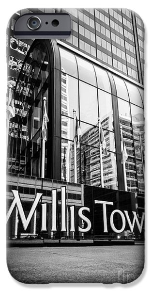 Sears Tower iPhone Cases - Chicago Willis Tower Sign in Black and White iPhone Case by Paul Velgos