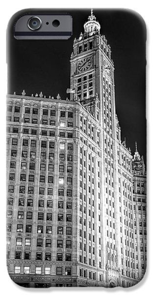 Wrigley iPhone Cases - Chicago Wrigley Building Black and White iPhone Case by Christopher Arndt