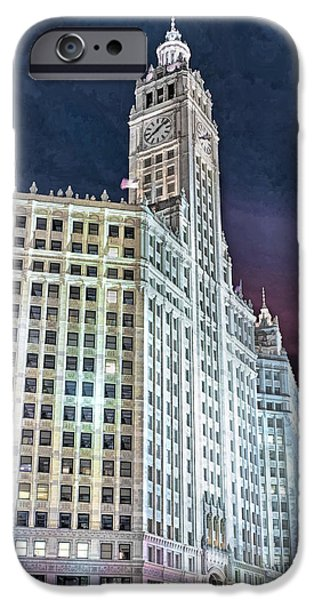 Chicago Paintings iPhone Cases - Chicago Wrigley Building iPhone Case by Christopher Arndt