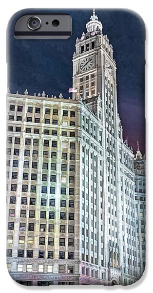 Wrigley Paintings iPhone Cases - Chicago Wrigley Building iPhone Case by Christopher Arndt