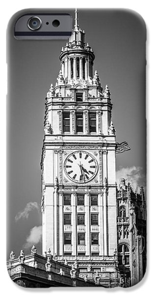 Wrigley Photographs iPhone Cases - Chicago Wrigley Building Clock Black and White Picture iPhone Case by Paul Velgos