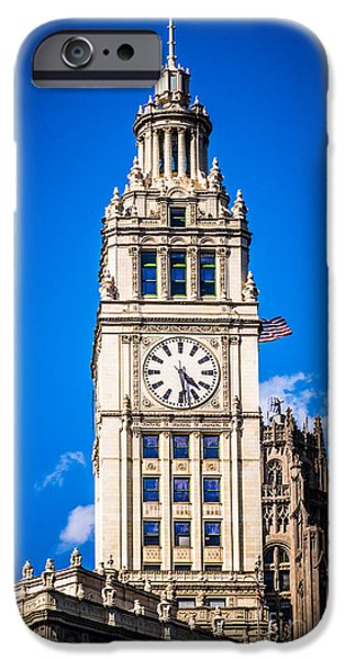 Wrigley iPhone Cases - Chicago Wrigley Building Clock iPhone Case by Paul Velgos