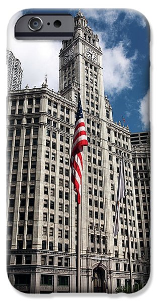Wrigley iPhone Cases - Chicago Wrigley Building iPhone Case by John Rizzuto
