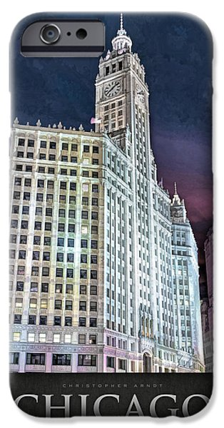Chicago Paintings iPhone Cases - Chicago Wrigley Building Poster iPhone Case by Christopher Arndt