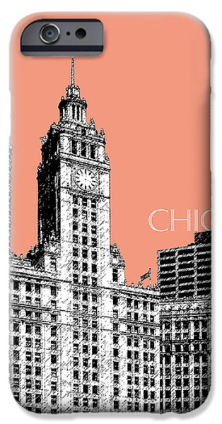 Pen And Ink iPhone Cases - Chicago Wrigley Building - Salmon iPhone Case by DB Artist