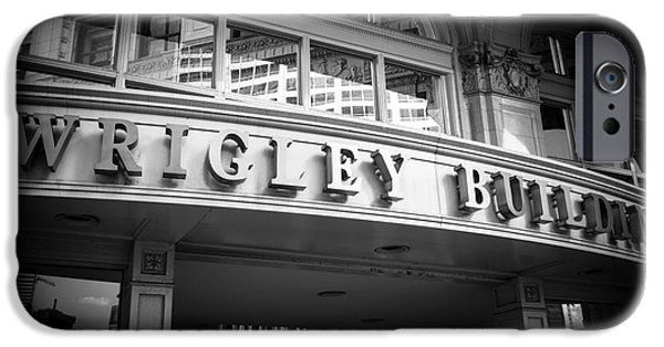 Wrigley iPhone Cases - Chicago Wrigley Building Sign in Black and White iPhone Case by Paul Velgos