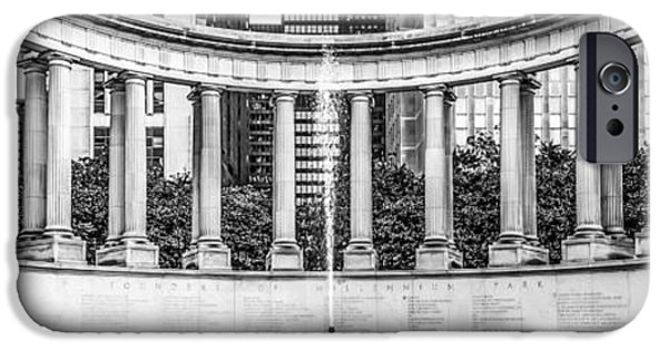 Wrigley iPhone Cases - Chicago Wrigley Square Millennium Monument Panorama Photo iPhone Case by Paul Velgos