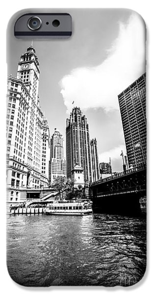 Wrigley iPhone Cases - Chicago Wrigley Tribune Equitable Buildings Black and White Phot iPhone Case by Paul Velgos