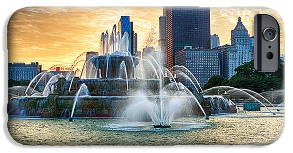 Sears Tower iPhone Cases - Chicagos Buckingham Fountain at Sunset iPhone Case by Lindley Johnson