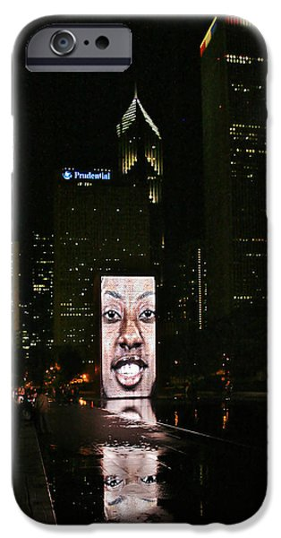Chicago's Crown Fountain at night iPhone Case by Christine Till