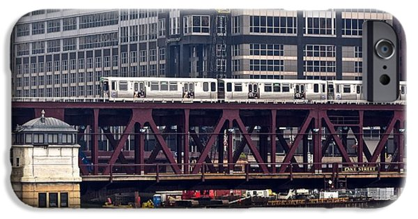 Wrigley iPhone Cases - Chicagos Elevated Train iPhone Case by Frozen in Time Fine Art Photography