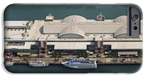 Lake Front iPhone Cases - Chicagos Navy Pier Aerial Panoramic iPhone Case by Adam Romanowicz