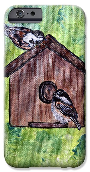 Baby Bird Mixed Media iPhone Cases - Chickadee Birds - Garden Home for Two - Painting iPhone Case by Ella Kaye Dickey