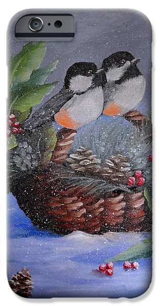 Christmas Greeting iPhone Cases - Chickadee dee dee iPhone Case by Fineartist Ellen
