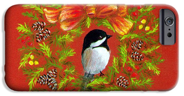 Christmas Greeting Pastels iPhone Cases - Chickadee Holiday Greeting Card iPhone Case by Judy Filarecki