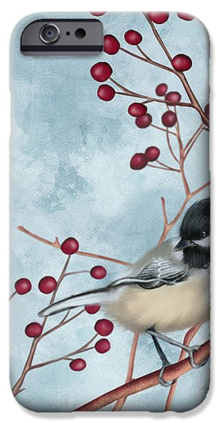 Small Digital Art iPhone Cases - Chickadee I iPhone Case by April Moen