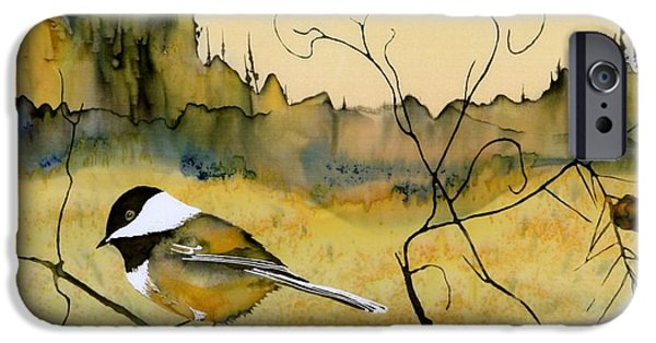 Birds Tapestries - Textiles iPhone Cases - Chickadee In Dancing Pine iPhone Case by Carolyn Doe
