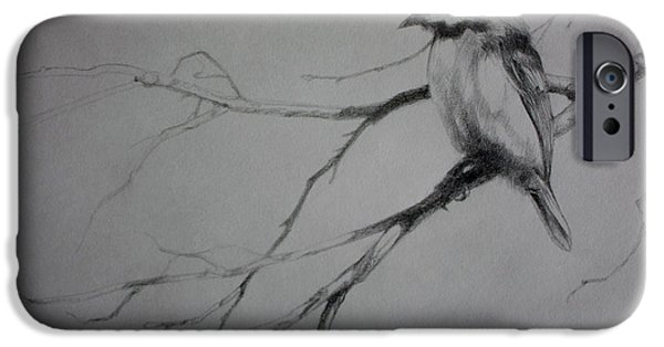 Maine Drawings iPhone Cases - Chickadee Sketch iPhone Case by Derrick Higgins