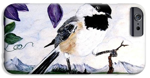 Birds Ceramics iPhone Cases - Chickadee with Blue Clematis iPhone Case by Sandra Maddox