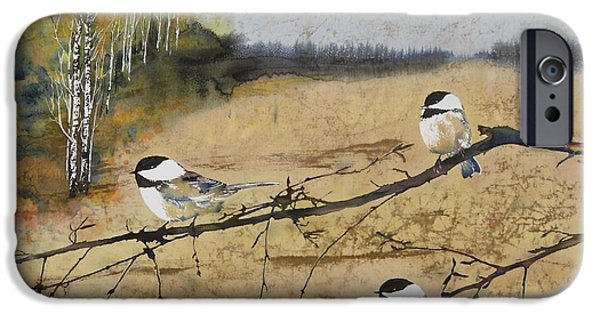 Birds Tapestries - Textiles iPhone Cases - Chickadees and a row of Birch Trees iPhone Case by Carolyn Doe