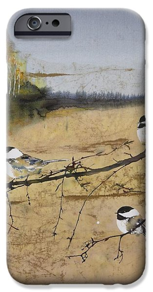 Chickadees and a row of Birch Trees iPhone Case by Carolyn Doe