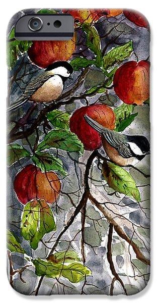 Award Winning Art iPhone Cases - Chickadees Apple Tree iPhone Case by Steven Schultz