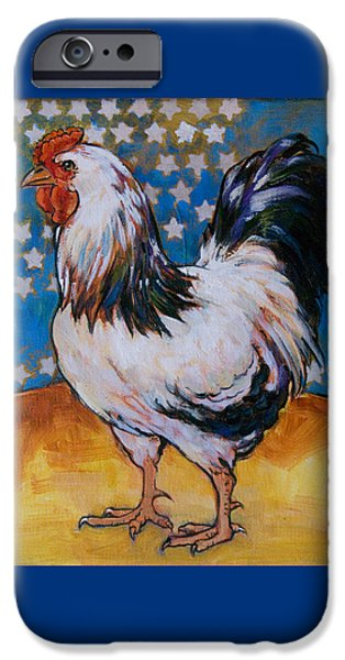 Barnyard iPhone Cases - Chicken and Stars iPhone Case by Tracie Thompson