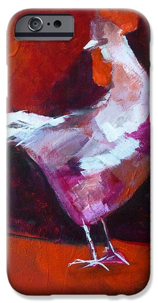 Business Paintings iPhone Cases - Chicken Light iPhone Case by Nancy Merkle