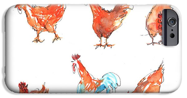 """texas Artist"" iPhone Cases - Chicken Pen iPhone Case by Kathleen McElwaine"