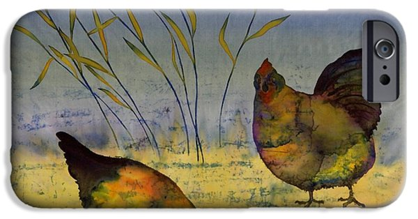 Birds Tapestries - Textiles iPhone Cases - Chickens On Silk iPhone Case by Carolyn Doe