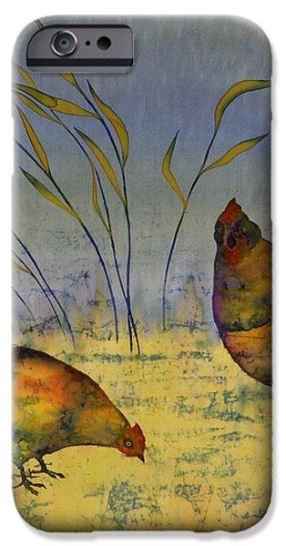 chickens on silk iPhone Case by Carolyn Doe