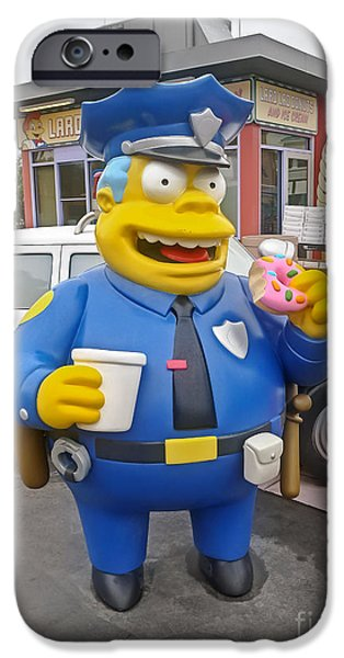Police iPhone Cases - Chief Clancy Wiggum from The Simpsons iPhone Case by Edward Fielding