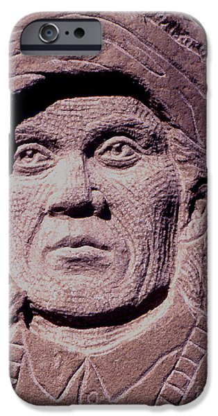 Native Sculptures iPhone Cases - Chief-Cochise-2 iPhone Case by Gordon Punt