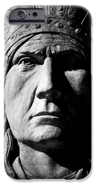 Statue Portrait iPhone Cases - Chief Greystone  iPhone Case by Jerry Cordeiro