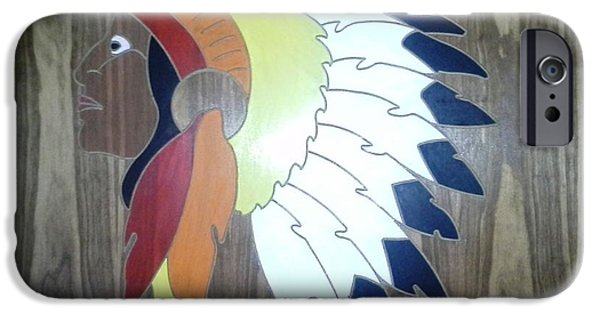 Native Sculptures iPhone Cases - Chief in Cherry iPhone Case by Michele Moore