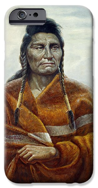 Western Art Digital Art iPhone Cases - Chief Joseph iPhone Case by Gregory Perillo