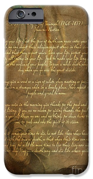 America iPhone Cases - Chief Tecumseh Poem iPhone Case by Wayne Moran