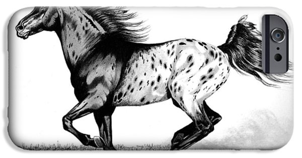 Drawing Of A Horse iPhone Cases - Chiefton iPhone Case by Cheryl Poland