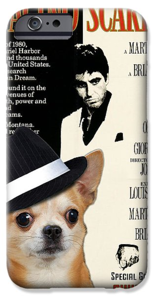Scarface iPhone Cases - Chihuahua Art - Scarface Movie Poster iPhone Case by Sandra Sij