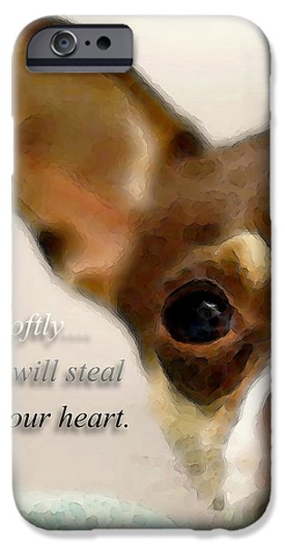Buying Online Digital iPhone Cases - Chihuahua Dog Art - The Thief iPhone Case by Sharon Cummings
